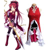 Hot Sale Puella Magi Madoka Magica Sakura Kyoko Cosplay Costume Custome Size Free Shipping Women Dress