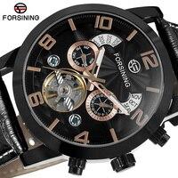 FORSINING Top Luxury Brand Tourbillon Automatic Mechanical Watch Rose Gold Leather Strap Men Dress Wrist Self