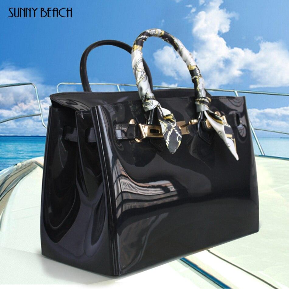 e710b7989 Venta caliente popular mujer bolso de PVC de plástico de goma impermeable  bolsas de playa de bolsas de mujer de color caramelo bolso bandolera bolsas  bolso