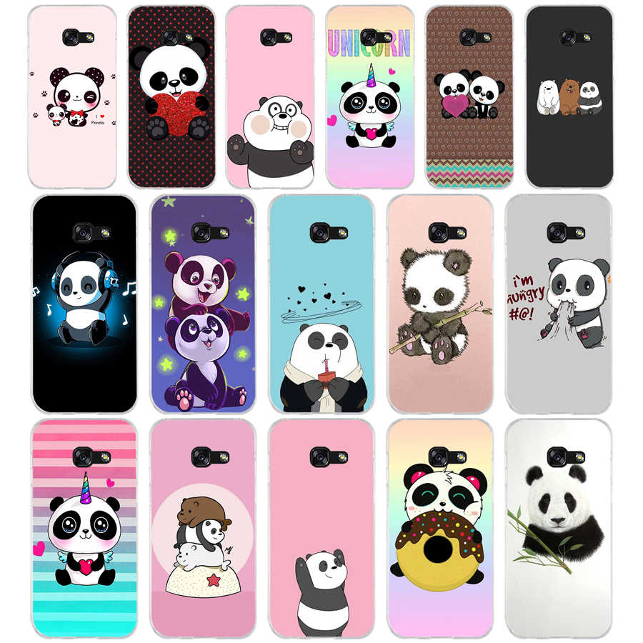214we Panda Trop Mignon Dessin Soft Silicone Tpu Cover Phone Case For Samsung A3 A5 2016 A3 A5 2017 A7 A8 2018 A50
