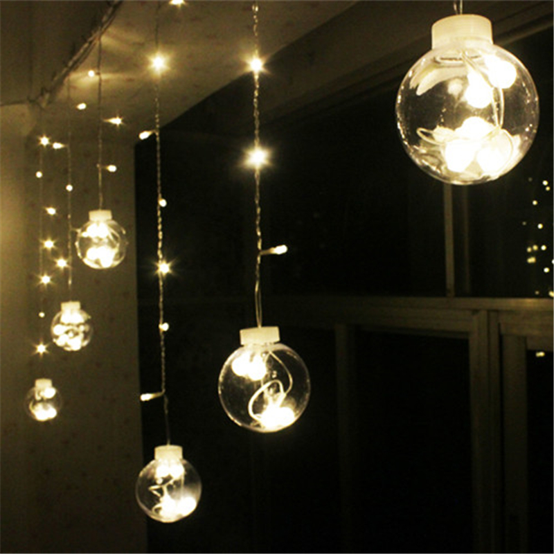 wedding decoration curtain led ball light plastic globe starry string fairy lights transparent. Black Bedroom Furniture Sets. Home Design Ideas