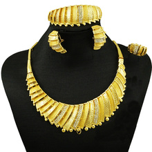 fine jewelry  sets fashion african gold women big necklace beads set