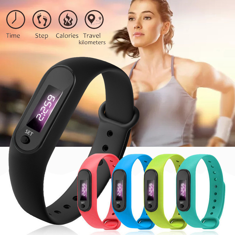 Fashion Couple Run Step Watch Bracelet Pedometer Calorie Counter Digital LED Walking Distance Hot Sale Silica Gel Band Watches