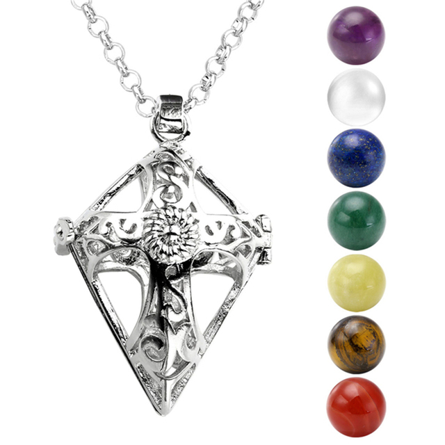 7 Chakra Stones Reiki Healing Point Ball Beads Locket Pendant Chain Necklace Set 28-31.5 inchs White-K Gold Rose Golden Plated