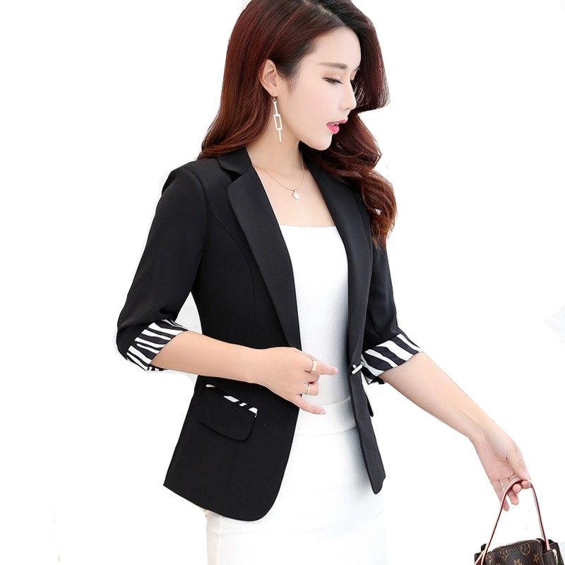 Black Ladies Blazer Fashion Slim Elegant Single Button Coat Casual Female Short Suit Blazers Seven-quarter Sleeve Office Tops