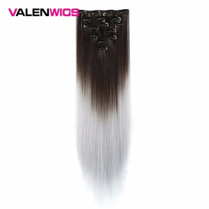Valen Wigs Grey Hair Extension Heat Resistant Synthetic Hair Clip In Hair Extensions Brown To Gray Women Hair Piece Omber Wigs
