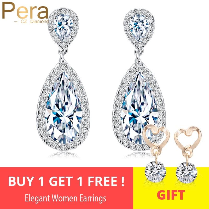 Pera Classic Big Water Drop AAA + Zirconia Zilver Kleur Luxe Bruiloft - Mode-sieraden