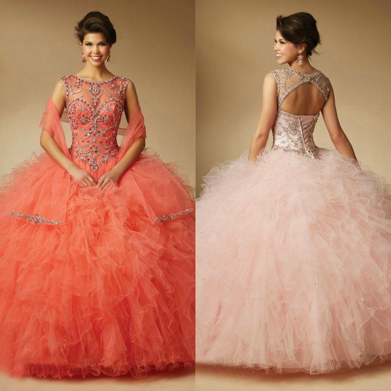 Blush Mint Coral Organza Sleeveless Quinceanera Dresses Ball