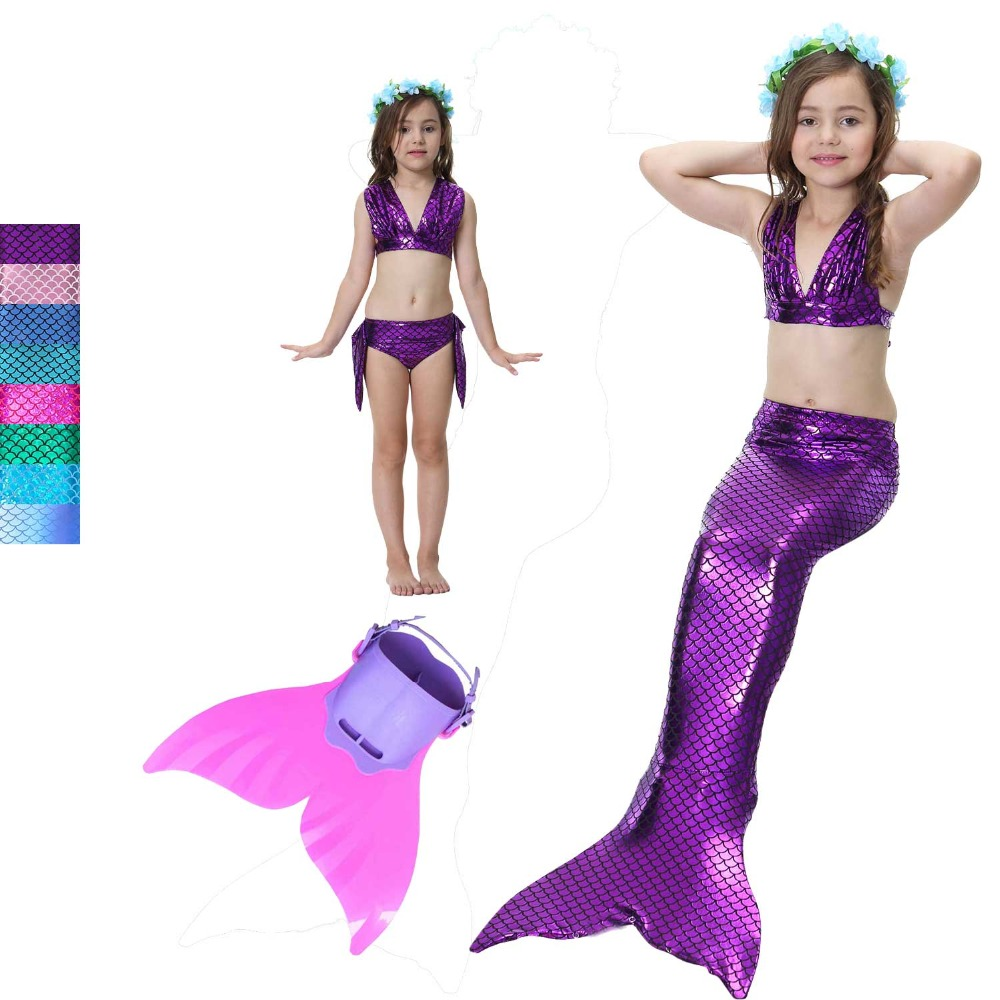 Swimmable Mermaid Tail for Kids Girls Princess Bikini Set Swimsuit The Little Of Mermaid Tail Dress And Bikini Monofin Costume