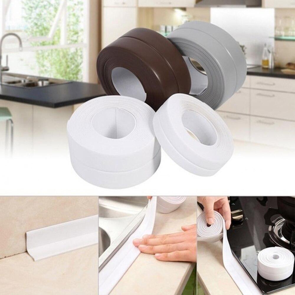 White Protective Sealer Tape Self Adhesive Bath Wall Sealing Strip Sink Basin Edge Trim Kitchen Tool Moisture-proof Anti-mildew