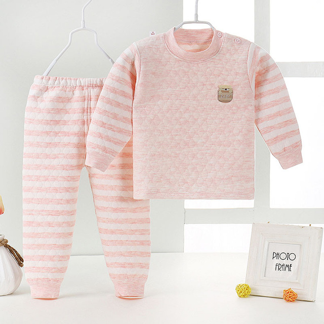c7cb5de081af Baby winter clothes set 2pcs toddler infant boy girl thermal ...