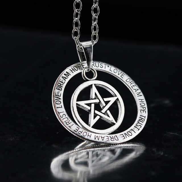 Handmade movie supernatural pentacle pendant men necklace witch handmade movie supernatural pentacle pendant men necklace witch protection star amulet necklace movie jewelry aloadofball Gallery