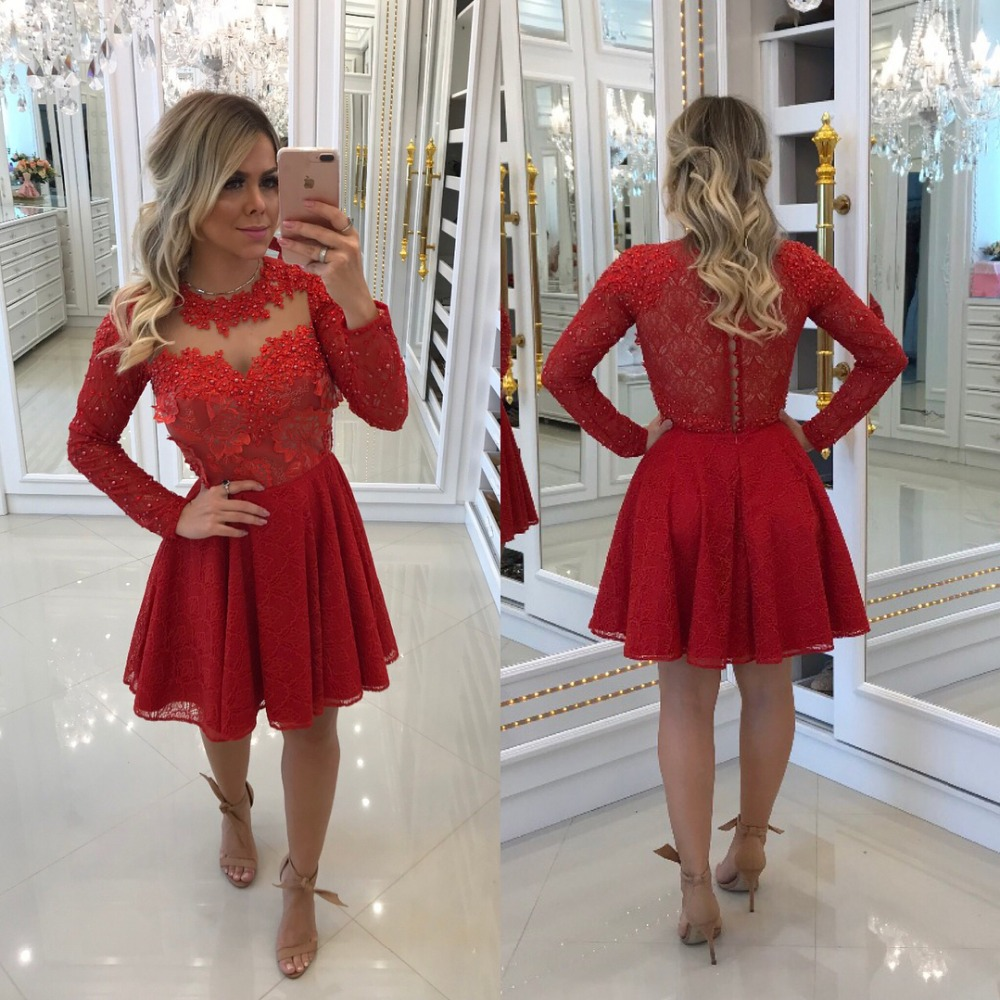 Red Elegant Cocktail Dresses A-line Long Sleeves Short Mini Appliques Lace  Pearls Party Plus Size Homecoming Dresses