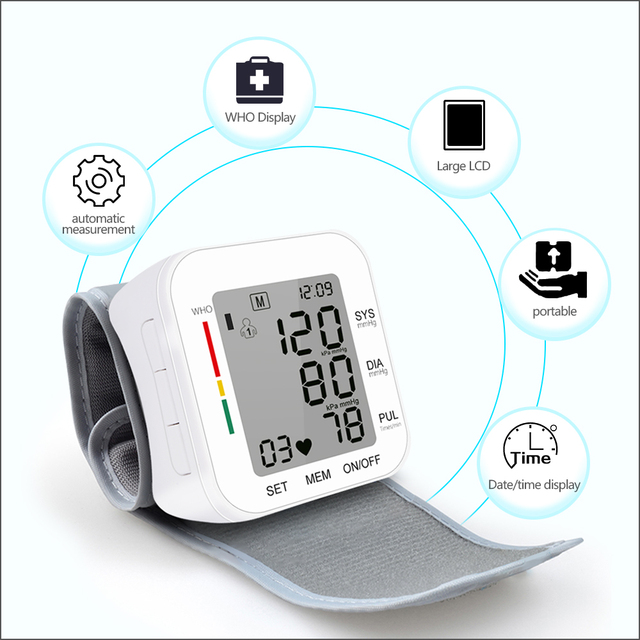 RZ Digital Wrist Blood Pressure Monitor Pulse Rate Heart Beat Rate Meter Device Medical Equipment Tonometer