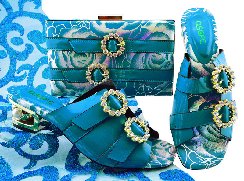 Turquoise blue very low heel shoe and bag set fashion new italian design shoes and bag to match women party shoes bag SB8199-2 turquoise blue very low heel shoe and bag set fashion new italian design shoes and bag to match women party shoes bag sb8199 2