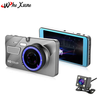 WHEXUNE New 4 inch Car DVR Camera Full HD 1080P Dual Lens Video Recorder Parking Monitor Rear view Auto Camera Motion Detection