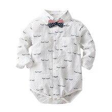 HI&JUBER Infant kids Baby Boy Romper Clothes Cartoon Eyelash  Long Sleeve Shirt Style Kids Jumpsuit Clothing
