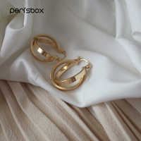 Peri'sBox Gold Sliver Color Double Hoops Earrings for Women Delicate Minimalist Hoop Earrings Geometrical Round Circle Earrings