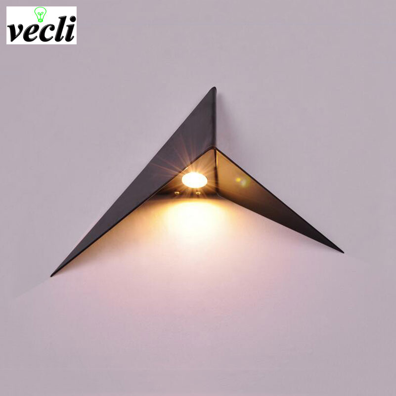 Creative triangle wall lamp led wall light bedroom bedside living room aisle stair background lighting bra wall sconce led light spot light background snowman printed removable stair stickers
