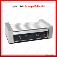 FY07 Electric Hot Dog Grill Machine Sausage Meat Ball Roller Cooking Machine Stainless Steel 5/7/9/11 Roller