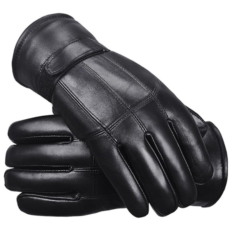 2019 New Winter Warm Men Gloves Motorcycle Male Real Leather Sheep Fur Gloves Outdoor Ski Sports Gloves Thick Cycling Mittens