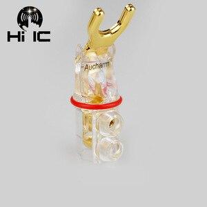 Image 3 - 2 ชิ้นทอง/ชุบโรเดียม Y Spade กล้วยปลั๊กตัวเชื่อมต่อ jagged ฟันเลื่อยปลั๊กลำโพง HiFi เสียงสกรูส้อม Connector อะแดปเตอร์