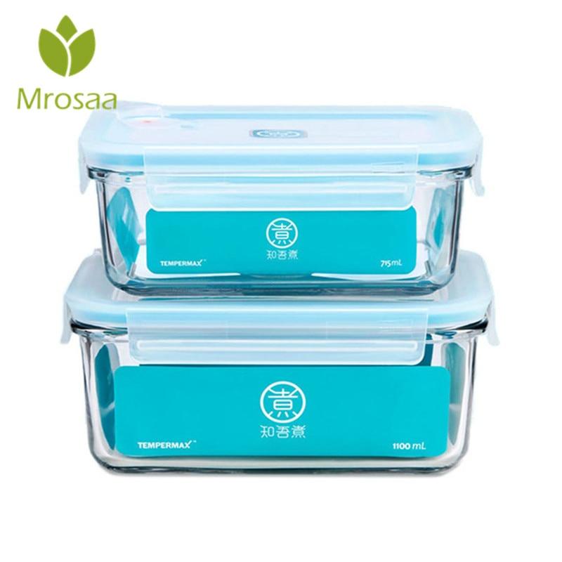 KCASA 1 PZ Vetro Portatile Lunchbox Conservazione Fresca Box Container Studenti a prova di Perdite Alimentare Frutta Caso il Pranzo Cucina Stoviglie