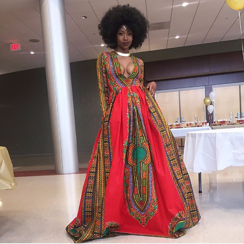 Adult Women African Dashiki Print Maxi Prom Wedding Dress Boho Style Plunge V-Cut Swing Gown Dress With Full Sleeves For Ladies