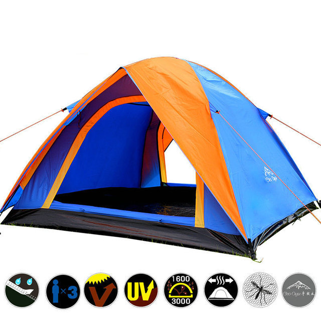 Top Quality 3-4 Person Double Layer Camping Tent All Weather Rainproof Double Door Outdoor Tent for Camping Party 200x180x140cm