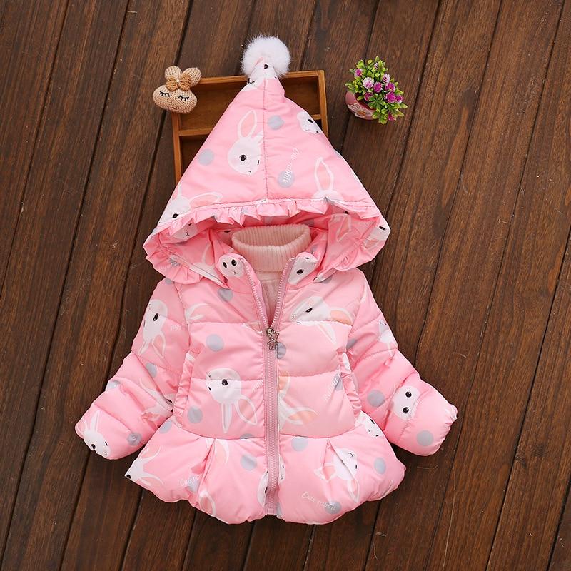 1-3T Children Girls Winter Jackets Girl Hooded Winter Coat Cute Rabbit Printed Girls Clothes все цены
