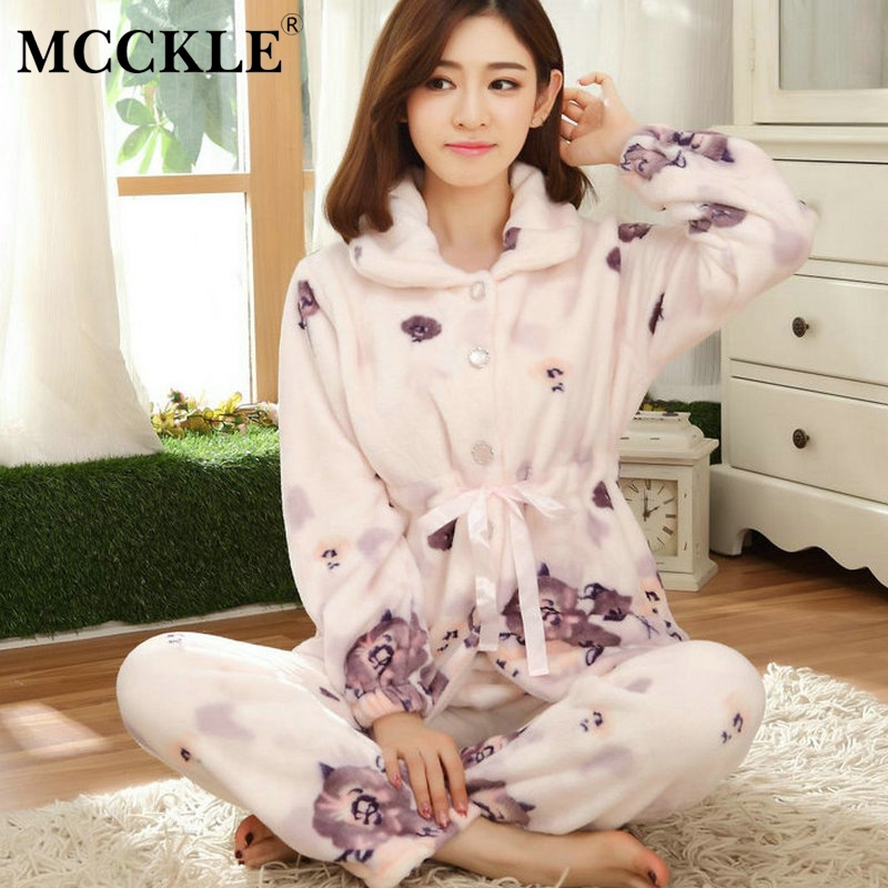 3a0776edc2 Detail Feedback Questions about Winter Women Pajamas Two Piece Flannel  Print Thick Warm Pajamas For Women Fashion Casual Loose Kawaii Female Pajama  Suits on ...