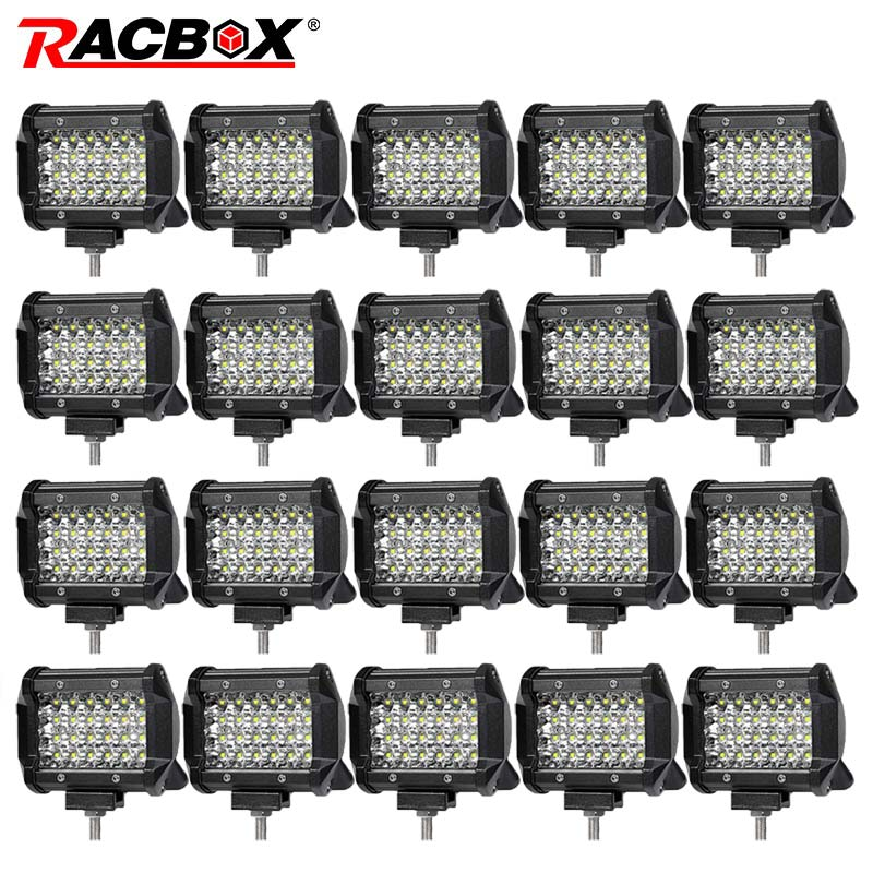 RACBOX 4 inch 72w Quad Row Spot lights Led Work Light Bar 12V 24V Offroad LED