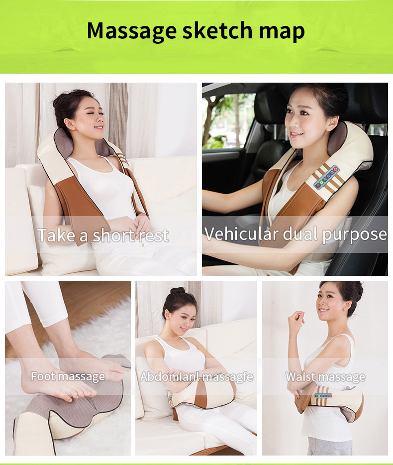 (with Gift Box)JinKaiRui U Shape Electrical Shiatsu Back Neck Shoulder Body Massager Infrared Heated Kneading CarHome Massagem 22
