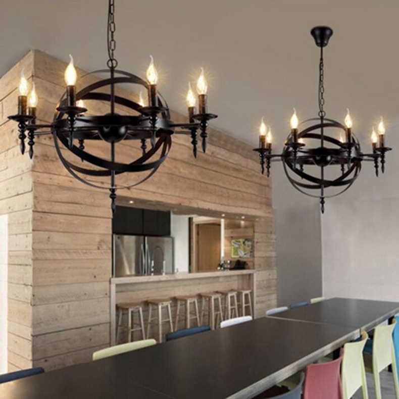 E14 американский стиль ретро Лофт люстра в бар ресторан горячий горшок магазин Кофе железная люстра со светодиодной лампой 6/8 головки
