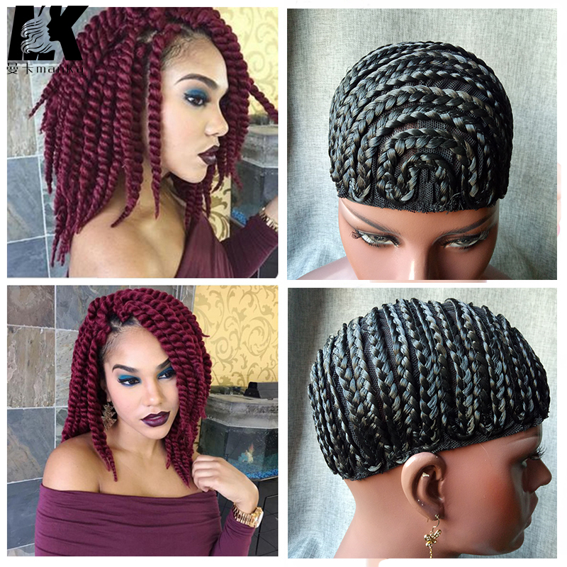 2pcs Braid Synthetic Wig Cap With Adjustable Strap Crochet Braid