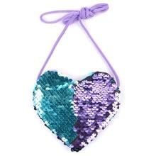 New Sequins Heart Kids Shoulder Coin Bag Baby Girls Mini Messenger Bag Cartoon Boys Small Coin Purse Children Handbags