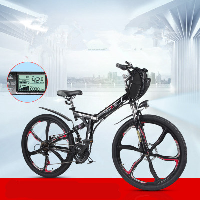 Alta qualidade 26 polegada 48V350W veículo mountain bike elétrica dobrável bateria de lítio bicicleta elétrica da bateria do veículo elétrico