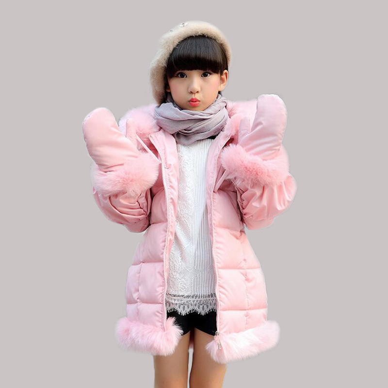 2016 Winter Girls Coats Jackets With Gloves Children Baby Clothes Thick Outdoor Hooded Faux Fur Collar Parka Clothing Q2087 new winter coats women jackets large faux fur collar thick plus velvet ladies parka hooded jacket outwear s1083