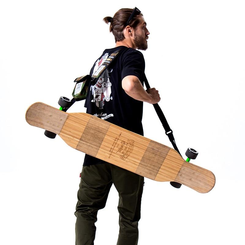 Mackar design professional long board dance board shoulder skateboard strap double rocker road board electric skateboard bag-in Skate Board from Sports & Entertainment