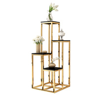 Golden light luxury living room floor stainless steel flower stand Simple post modern multi layer flower storage rack