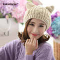 Fashion Women Knitted Acrylic Winter Hats Cute Warm Crochet Cat Ears Beanie for Girls High Quality Female Cap Free Size Bonnet