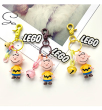 Cartoon Charlie Brown KeyChain With Bell Leather Pope Wristband Cute Trinket Creative Boyfriend Gifts Animal Keyring Wholesale