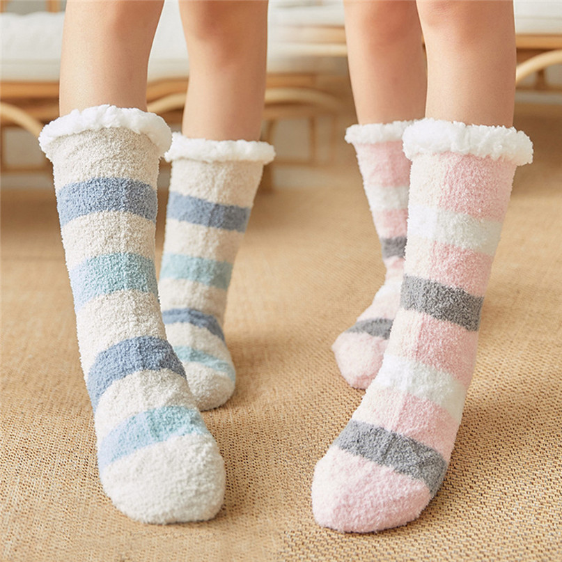 Thick warm sleep socks slippers socks Women Girls Print Stripe Casual Non Slip Warm Winter Mid Tube Cute Socks #2d31