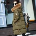 Qualidade SUPERIOR Nova 2016 Grande Natural Real Raccon Fur Jaqueta de Inverno mulheres Pato Branco Para Baixo Parka Exército Verde Com Capuz Engrossar Casaco Quente