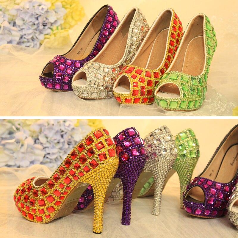 ФОТО Peep Toe Crystal Pumps Bridal Wedding Crystal Shoes Women Party Dress High Heel Shoes Luxury Rhinestone Shoes Plus Size 43