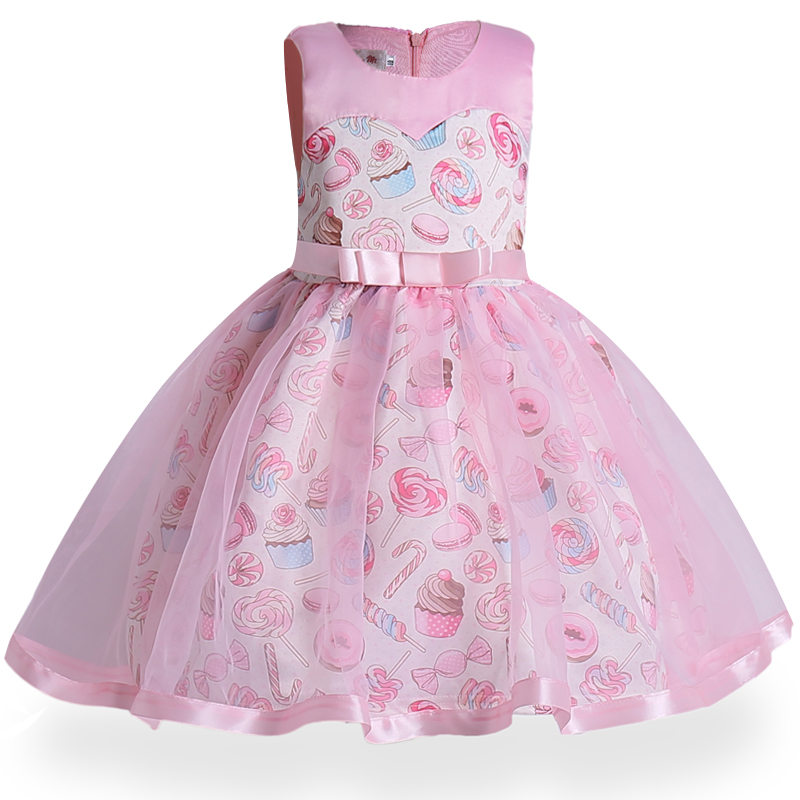 Sleeveless print princess Dress of Girl Birthday Wedding Party Dresses Kids Tutu dress Costume Children Baby girls Clothes+belt