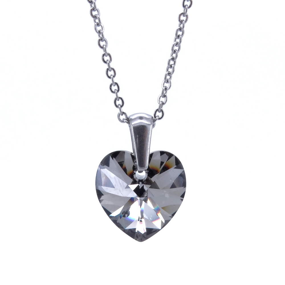RINYIN Jewelry Stainless Steel Necklace Pendant Charm Black/White/Blue/Purple/Red Heart Crystal from Swarovski Gift Box