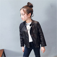 2018 Autumn Kids Leather Jacket Girls PU Jacket Children Leather Outwear For Girl Baby Girl Jackets and Coats Boys Fashion Cloth