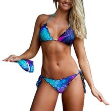 Womens Sexy Three Piece Bikini Set Gradient Colored Fish Scales  Swimsuit Cardigan Criss Cross Strappy Bandage Bathing Suit
