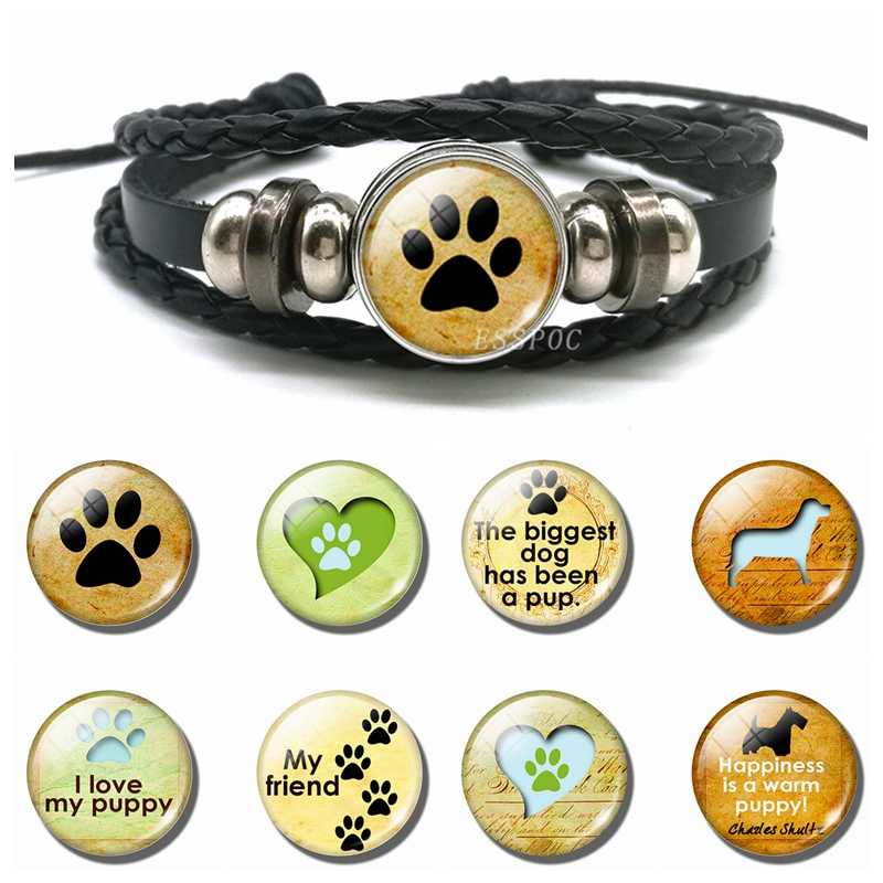 Dog Paw Glass Cabochon Snap Button Bracelet Lovely Dog Paw Black Multi-layer Leather Bracelet Fashion Accessories for Men Women
